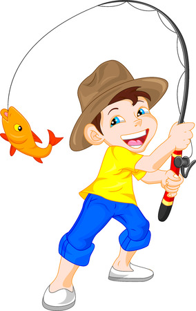 fishing catches: cute boy fishing cartoon Illustration