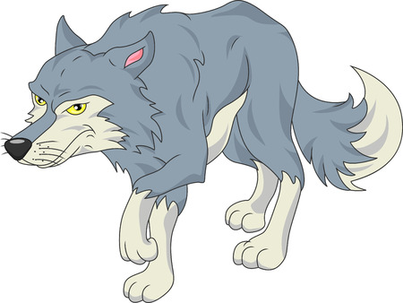 cute wolf cartoon  イラスト・ベクター素材