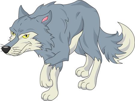 cute wolf cartoon Illustration