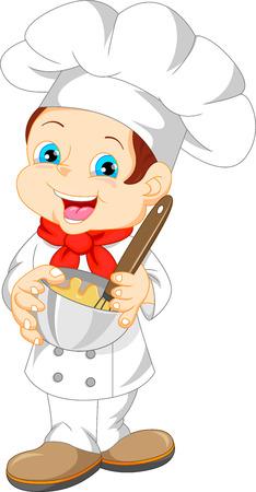 cute boy chef cartoon Illustration