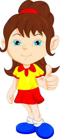 yellow shirt: pretty girl giving thumb up Illustration