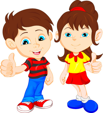 smile close up: boy and girl giving thumb up