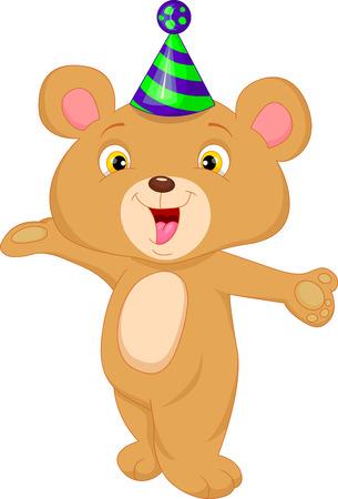 baby bear: cute baby bear cartoon waving Illustration
