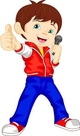 Jeune garçon chanteur pouce vers le haut Banque d'images - 39328157