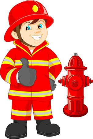 Fire fighter cartoon thumb up Vector
