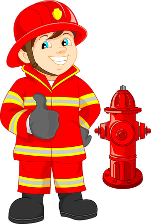 Fire fighter cartoon thumb up Reklamní fotografie - 40029661