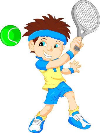 jugando tenis: ilustración vectorial de tenista muchacho de la historieta Vectores