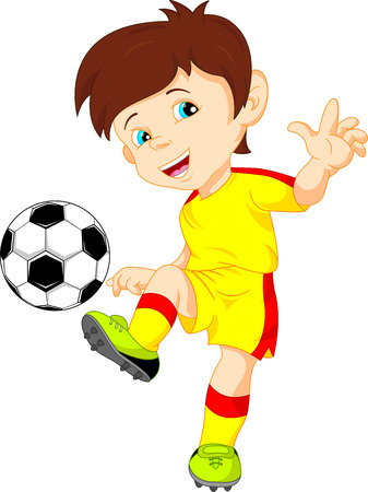 football kick: vector illustration of cute boy soccer player