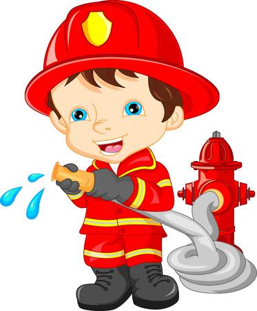 young boy wearing Firefighter cartoon Vector