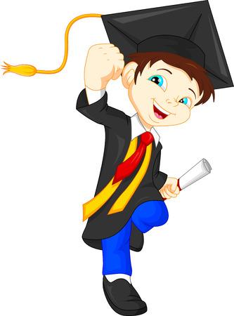 Sehr Gluckliche Kinder Absolventen In Den Kleidern Und Mit Einem