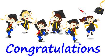 graduacion caricatura: Graduados felices