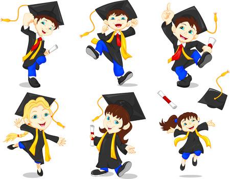 niños estudiando: Graduados felices
