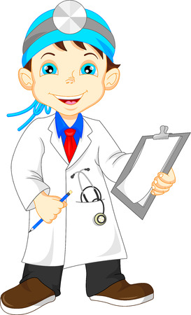 stethoscope boy: cute little male doctor