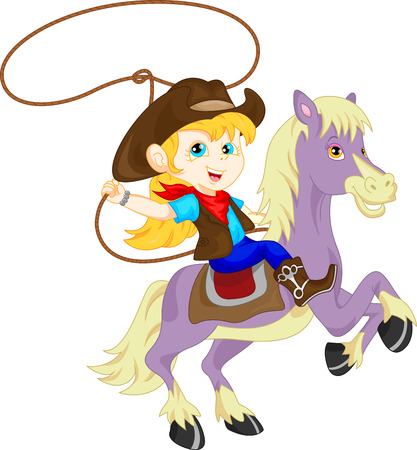 cute Cowgirl rider on the horse throwing lasso Vettoriali