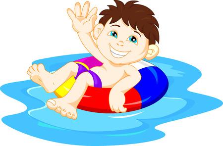 boy swim: Boy with inflatable circle waving