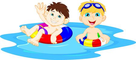 ni�os nadando: Ni�os con el c�rculo inflable agitando Vectores