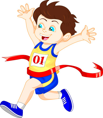 Boy ran to the finish line first Stock Illustratie