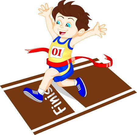 athlete cartoon: Boy ran to the finish line first Illustration