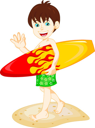 teenagers having fun: Boy Surfer with Surfboard