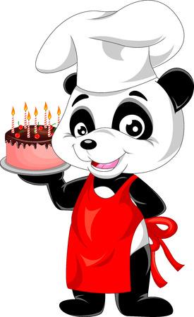 panda cartoon with birthday cake Ilustracja