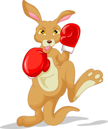 cute kangaroo cartoon wearing boxing glove Illustration