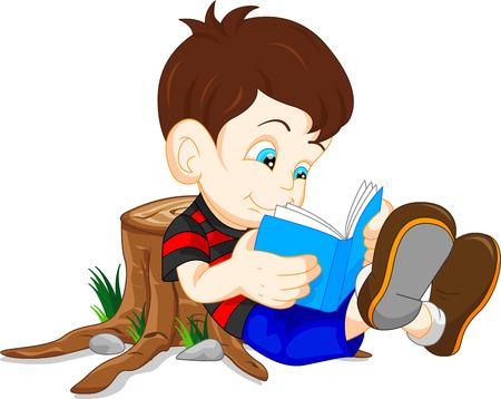 cartoon reading: cute boy reading books
