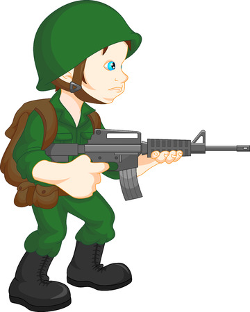 Soldat Junge posiert Vektorgrafik