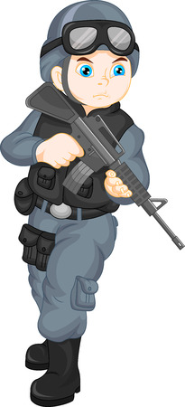 infantryman: army soldier boy posing with gun Illustration