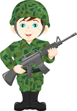 army soldier boy posing Stock Illustratie