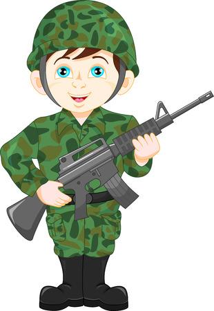 Soldat Junge posiert