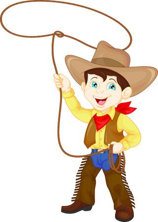 kid vector: Chico vaquero haciendo girar un lazo Vectores