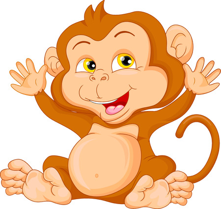 thumping: cute baby monkey cartoon waving
