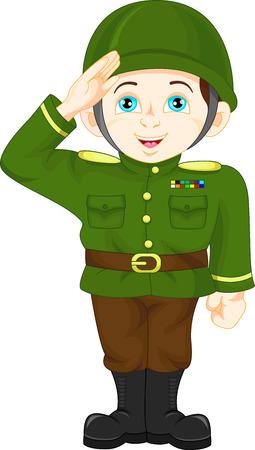 estrella caricatura: Soldado joven posando Vectores