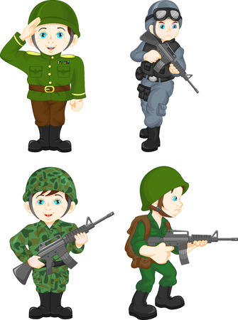 army soldier boy posing Illustration