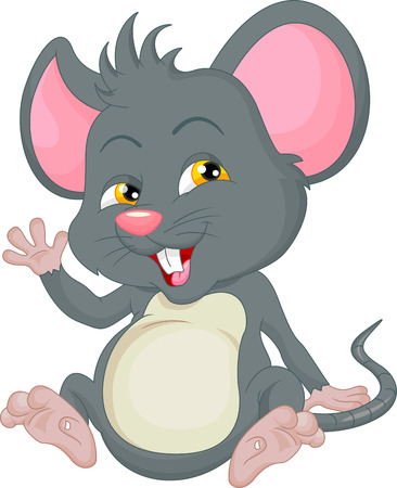 young animal: cute mouse cartoon waving Illustration