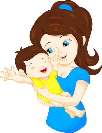 moeder en baby Stock Illustratie