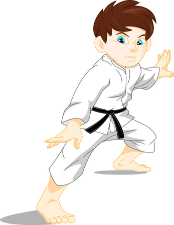 kid vector: karate niño Vectores