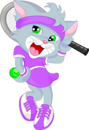Vector animals: mèo dễ thương làm quần vợt