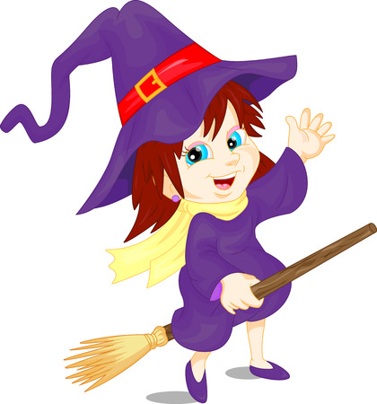 broomstick: cute girl wearing Halloween Witch and Broomstick costume