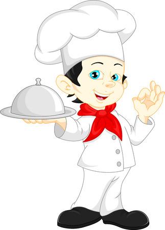 kid eat: boy chef cartoon Illustration