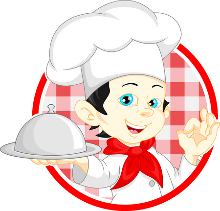 cook cartoon: boy chef cartoon Illustration