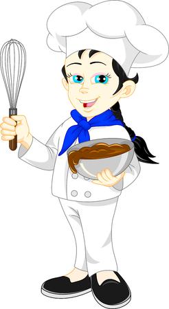 happy people eating: cute girl chef cartoon