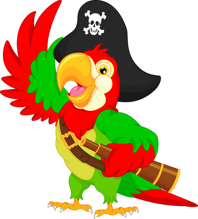calavera caricatura: de dibujos animados loro pirata