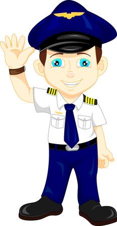 cute happy airplane pilot waving  イラスト・ベクター素材
