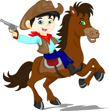 cowboy on horse: cute cowboy kid cartoon