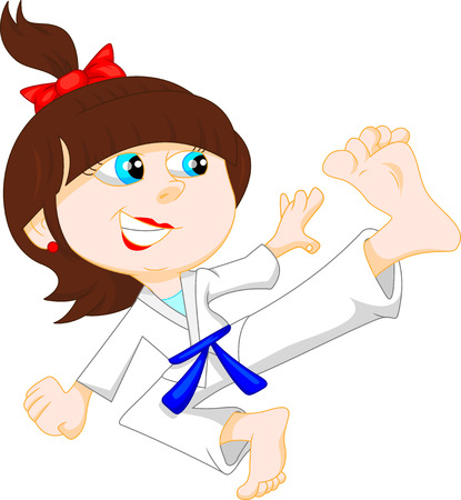 school girl uniform: karate girl cartoon Illustration