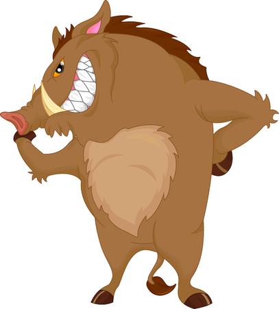savanna: angry warthog cartoon