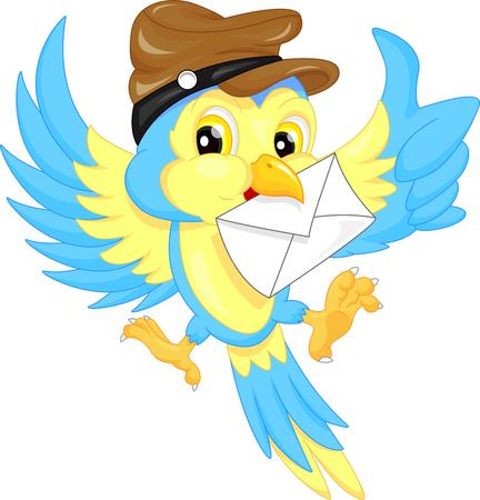 oiseau dessin: Oiseau mignon portant un chapeau, portant une lettre Illustration