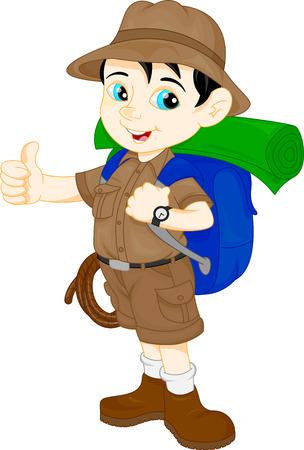 de dibujos animados lindo chico excursionista pulgar hacia arriba