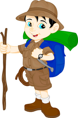 cartoon cute hiker boy 向量圖像